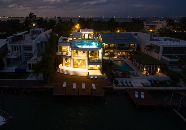 Villa Venetian Aerial View at Night