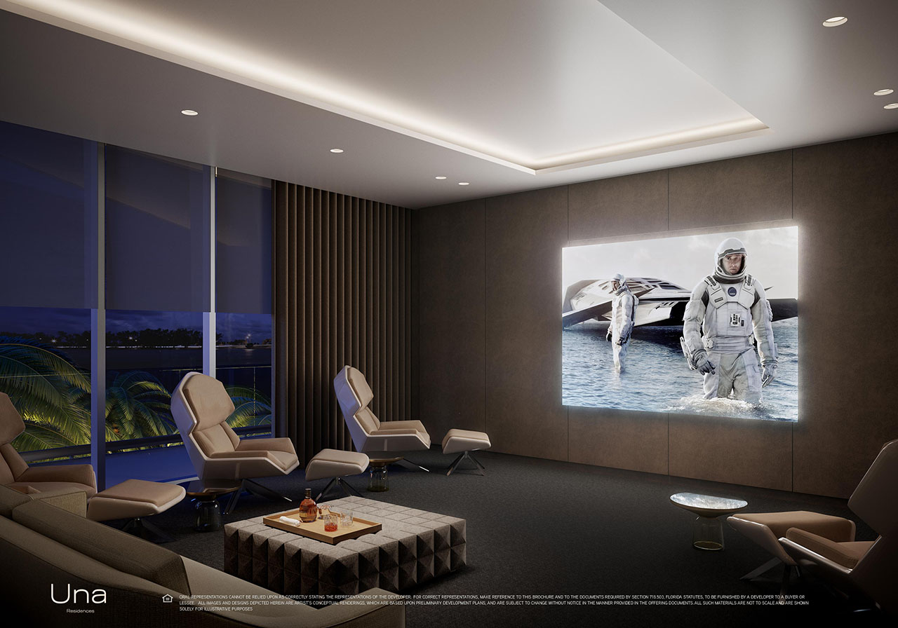 Una Residences Brickell Media Room Rendering