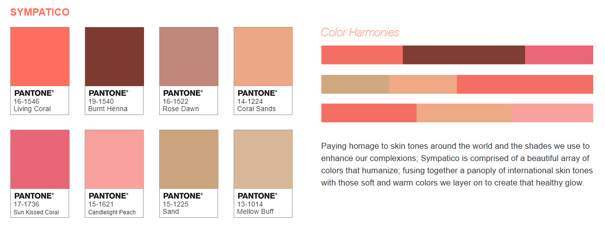Pantone 2019 Color of the Year - Sympatico Palette