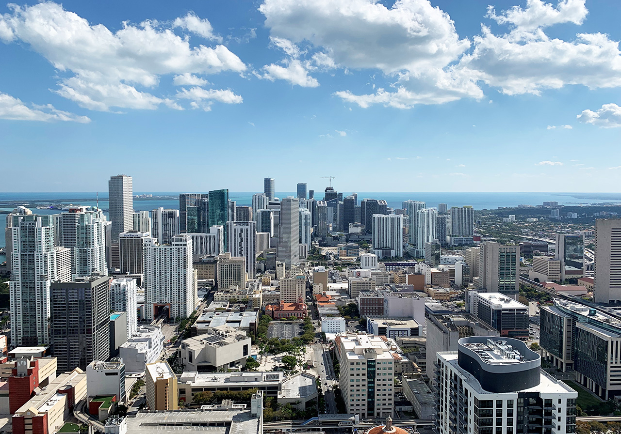 South View from Paramount Miami Worldcenter Rooftop Deck
